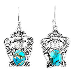 925 silver 5.38cts blue copper turquoise hand of god hamsa earrings p51939