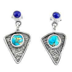 925 silver 4.47cts blue copper turquoise lapis lazuli dangle earrings p57591