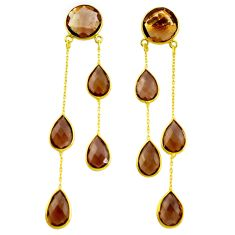 925 silver 37.41cts brown smoky topaz 14k gold chandelier earrings p75648