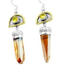 925 silver 28.24cts golden aura quartz (arkansas) gold dangle earrings d31664