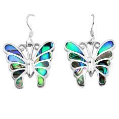 925 silver 7.48gms green abalone paua seashell butterfly earrings jewelry c2548