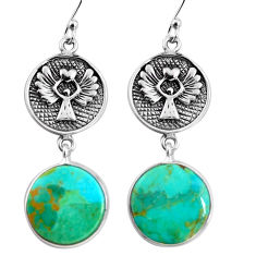 925 silver 18.70cts green arizona mohave turquoise dangle earrings p91864