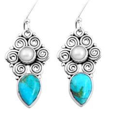 925 silver 8.60cts green arizona mohave turquoise pearl dangle earrings p41292