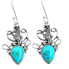 925 silver 5.38cts green arizona mohave turquoise seahorse earrings p41491