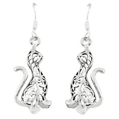 925 silver 3.65gms indonesian bali style solid cat charm earrings jewelry c3645