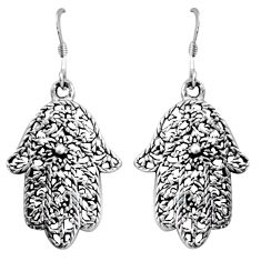 925 silver 5.69gms indonesian bali style solid hand of god hamsa earrings c5350