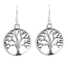 925 silver 3.68gms indonesian bali style solid tree of life earrings c5387