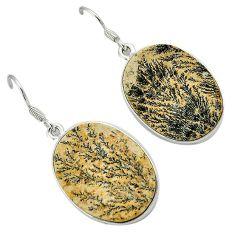 925 silver multi color germany psilomelane dendrite oval dangle earrings h71957