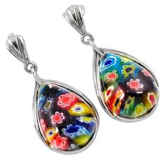 925 silver multi color italian murano glass dangle earrings jewelry h54966