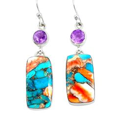 925 silver 24.06cts multicolor spiny oyster arizona turquoise earrings p39620