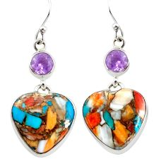 925 silver 20.47cts multicolor spiny oyster arizona turquoise earrings p39626