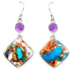 925 silver 28.65cts multicolor spiny oyster arizona turquoise earrings p39657