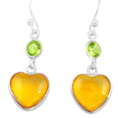925 silver 5.67cts natural amber from colombia heart love earrings p74104