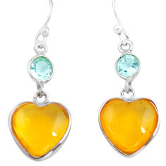 925 silver 6.20cts natural amber from colombia heart love earrings p74109