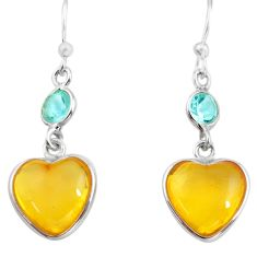 925 silver 5.67cts natural amber from colombia heart love earrings p74114