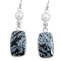 925 silver 18.57cts natural black australian obsidian dangle earrings p78613