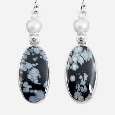 925 silver 19.09cts natural black australian obsidian dangle earrings p78616