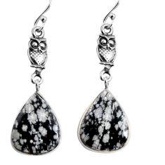 925 silver 13.13cts natural black australian obsidian owl earrings p91859