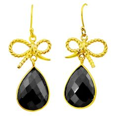 925 silver 16.90cts natural black onyx 14k gold chandelier earrings p49800