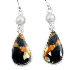 925 silver 19.09cts natural black picasso jasper pearl dangle earrings p78669