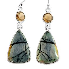 925 silver 24.06cts natural black picasso jasper smoky topaz earrings p78664