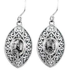 925 silver 4.20cts natural black tourmaline rutile dangle earrings p64971