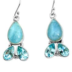 925 silver 12.87cts natural blue aquamarine topaz dangle earrings jewelry p57358