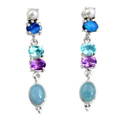 925 silver 15.39cts natural blue aquamarine topaz pearl dangle earrings d32287
