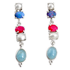 Clearance Sale- 925 silver 15.11cts natural blue aquamarine white pearl dangle earrings d32295