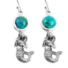 925 silver 6.32cts natural blue chrysocolla fairy mermaid earrings p55464