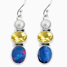 925 silver 8.53cts natural blue doublet opal australian dangle earrings p57464