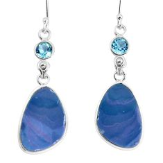 925 silver 13.13cts natural blue doublet opal australian dangle earrings p58085
