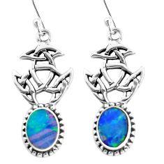 925 silver 6.33cts natural blue doublet opal australian dangle earrings p60775