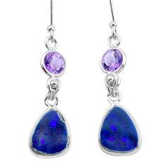925 silver 9.13cts natural blue doublet opal australian dangle earrings p62964