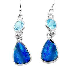 925 silver 9.13cts natural blue doublet opal australian dangle earrings p62970