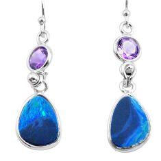 925 silver 8.46cts natural blue doublet opal australian dangle earrings p62973