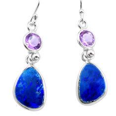 925 silver 9.13cts natural blue doublet opal australian dangle earrings p63003
