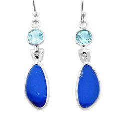 925 silver 9.74cts natural blue doublet opal australian dangle earrings p63006