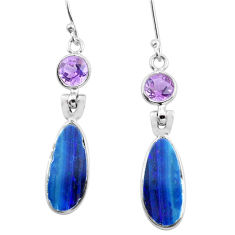 925 silver 9.74cts natural blue doublet opal australian dangle earrings p63010