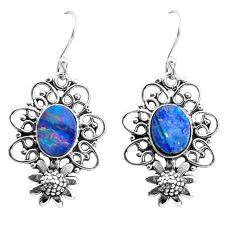 925 silver 5.30cts natural blue doublet opal australian flower earrings p52038