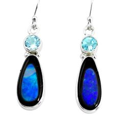 925 silver 10.78cts natural blue doublet opal in onyx dangle earrings p64610