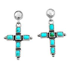 925 silver 8.54cts natural blue kingman turquoise holy cross earrings c1791