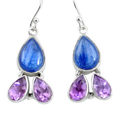 925 silver 14.72cts natural blue kyanite amethyst dangle earrings jewelry p57395