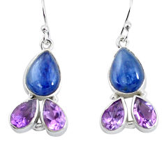 925 silver 13.77cts natural blue kyanite amethyst dangle earrings p57391