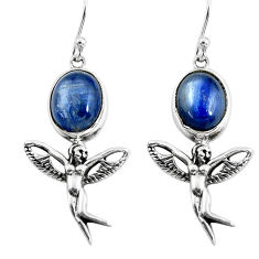 925 silver 8.31cts natural blue kyanite angel wings fairy earrings p54884