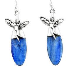 925 silver 17.57cts natural blue kyanite angel wings fairy earrings p66404