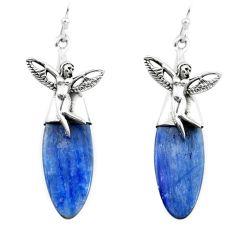 925 silver 18.70cts natural blue kyanite angel wings fairy earrings p66414