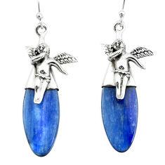 925 silver 15.65cts natural blue kyanite cupid angel wings earrings p66411