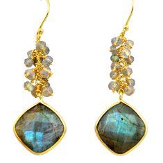 925 silver 23.17cts natural blue labradorite 14k gold dangle earrings p75674