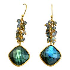 925 silver 23.45cts natural blue labradorite 14k gold dangle earrings p91260